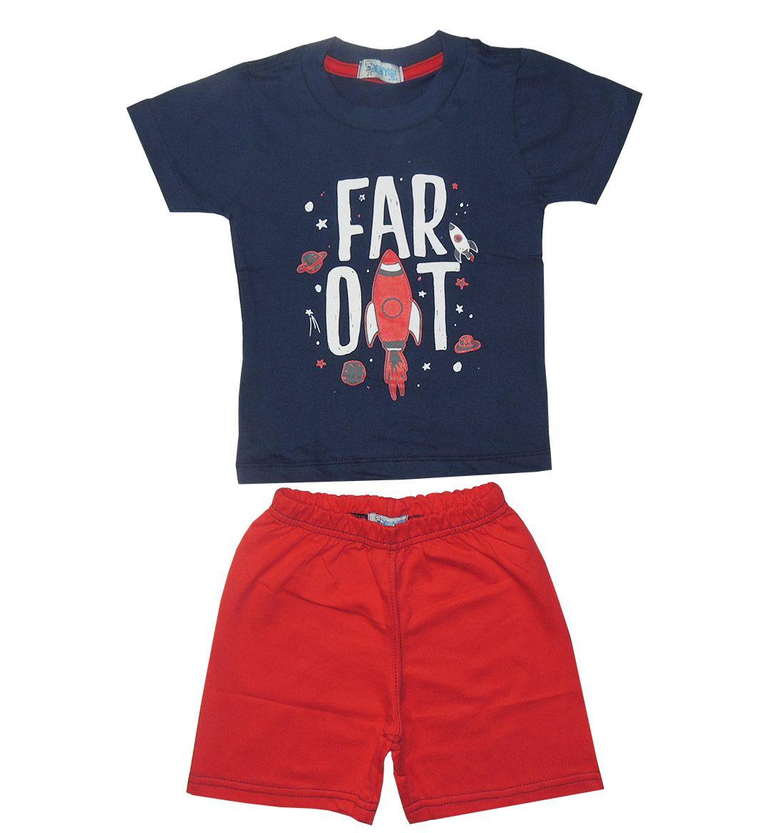Conjunto Infantil Camiseta Estampada e Bermuda Vermelha