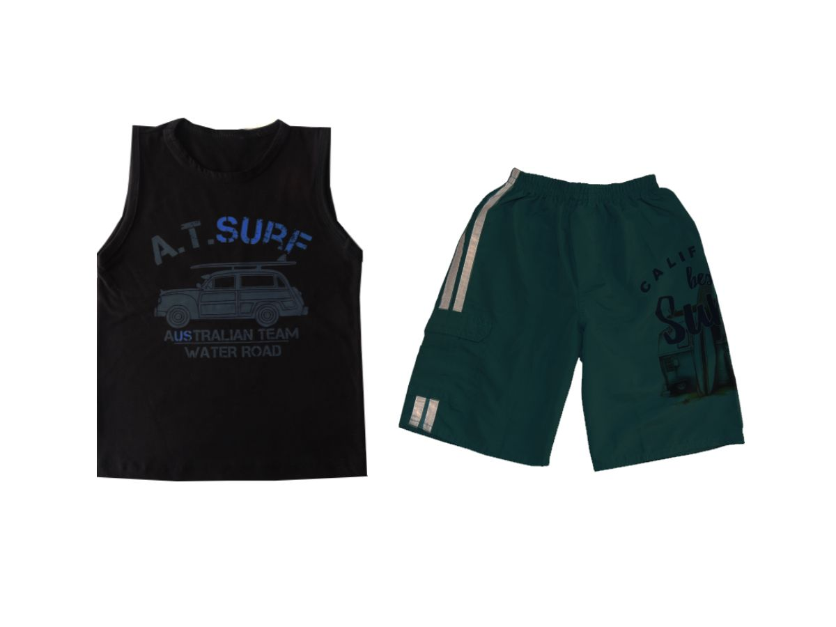 Conjunto Infantil Camiseta Regata e Bemuda Tactel