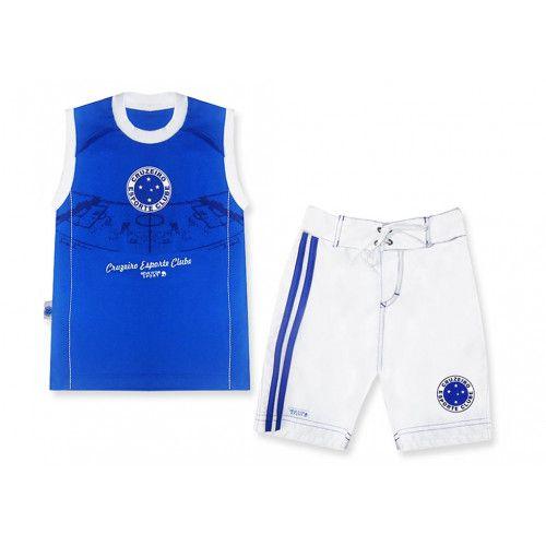 Conjunto Infantil Cruzeiro Bermuda e Regata Oficial