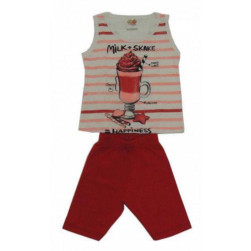 Conjunto Infantil Curto Estampa de Milk Shake