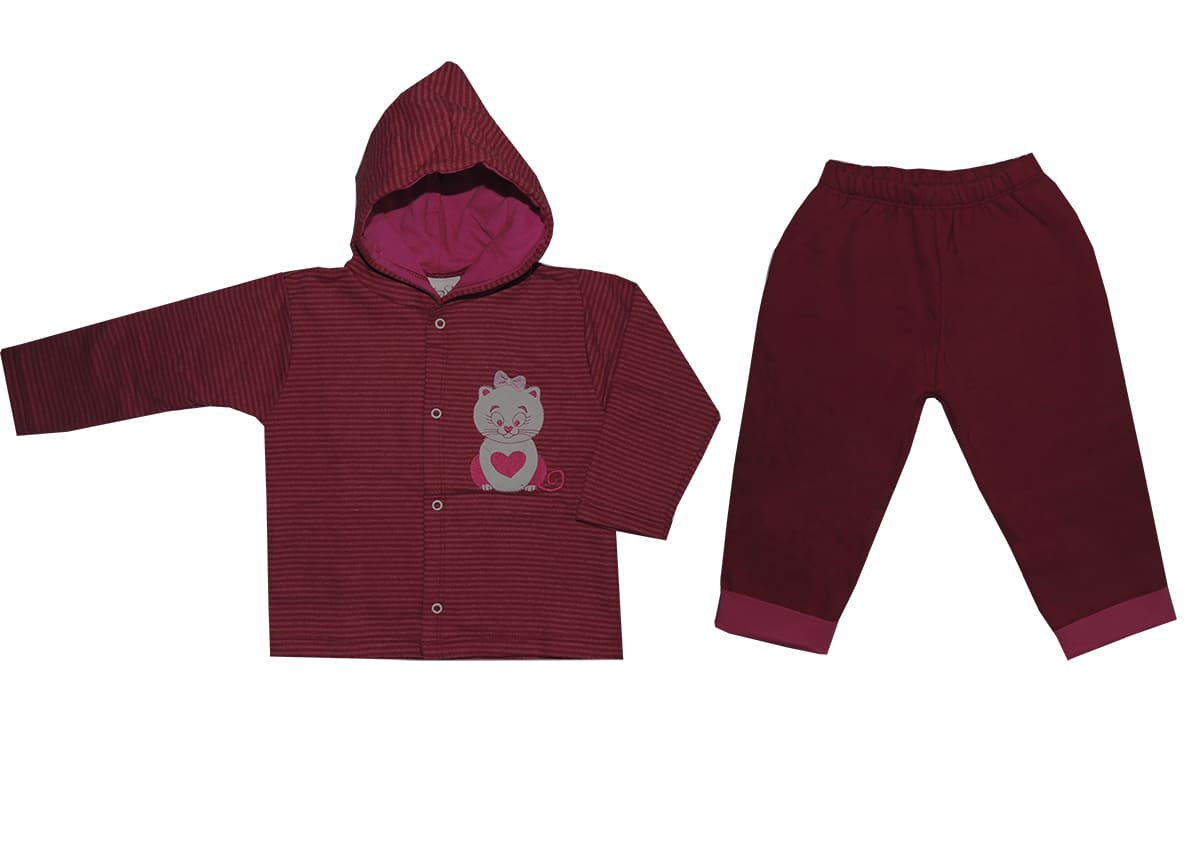 Conjunto Infantil Menina Blusa Listrada com Capuz e Calça