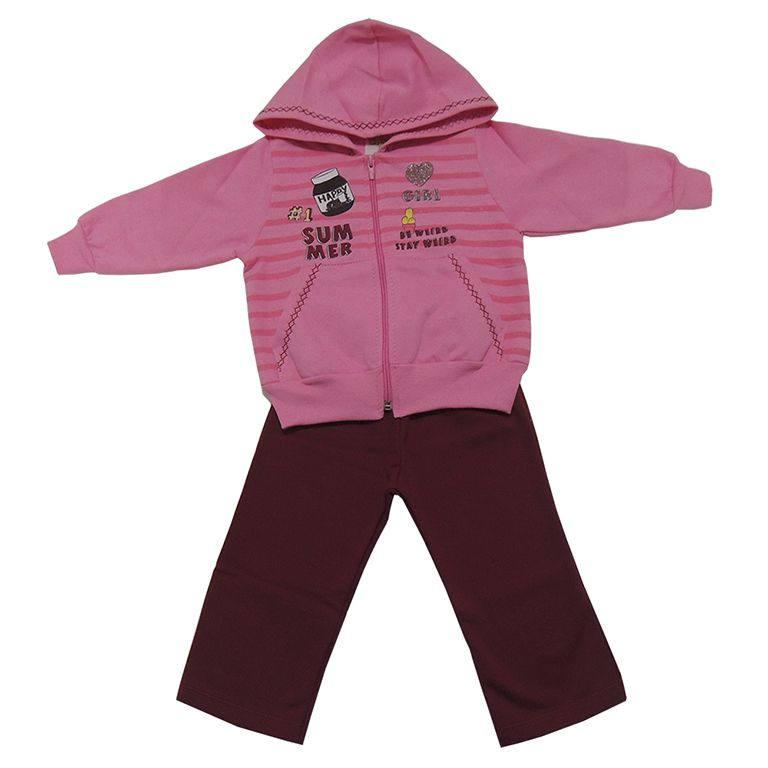 Conjunto Infantil Menina Blusa Rosa com Capuz e Calça
