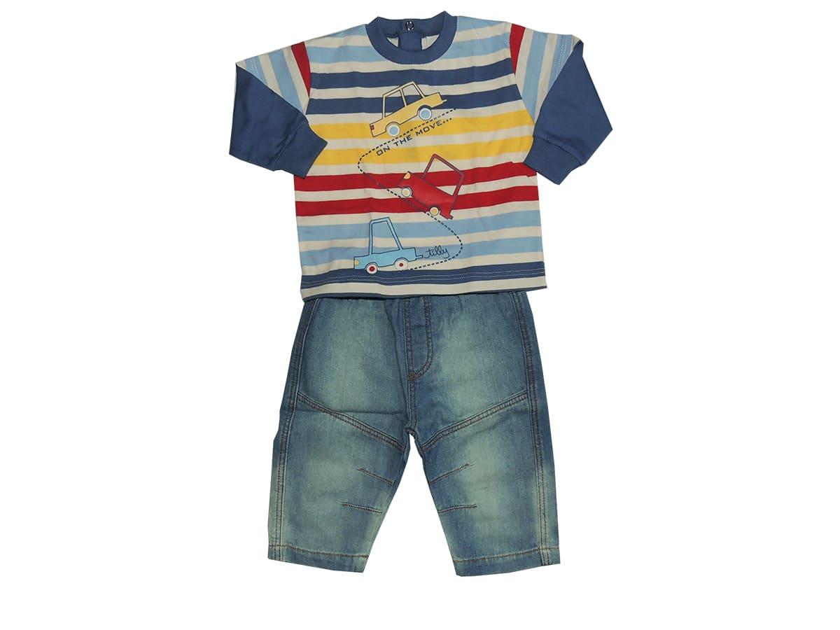 Conjunto Infantil Menino Camisa Listrada Estampada