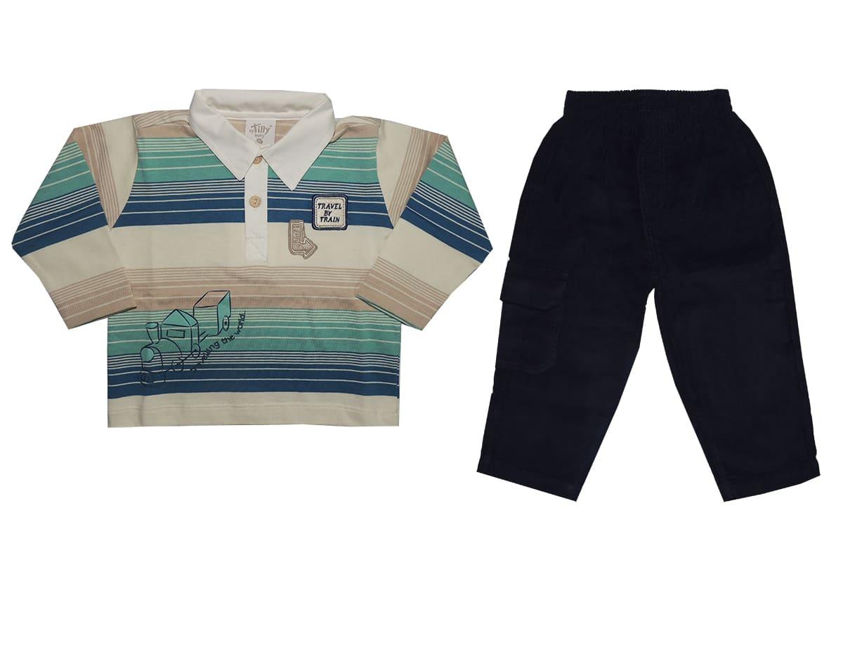 Conjunto Infantil Polo Listrada e Calça Veludo Menino