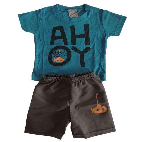 Conjunto Menino Curto Camiseta com Escrita AHOY e Bermuda