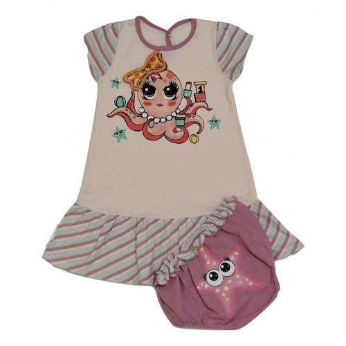 Conjunto Vestido Estampado e Calcinha de Cotton