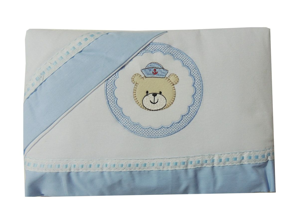 Jogo de Lençol Americano 3 Peças bordado Urso Marinheiro
