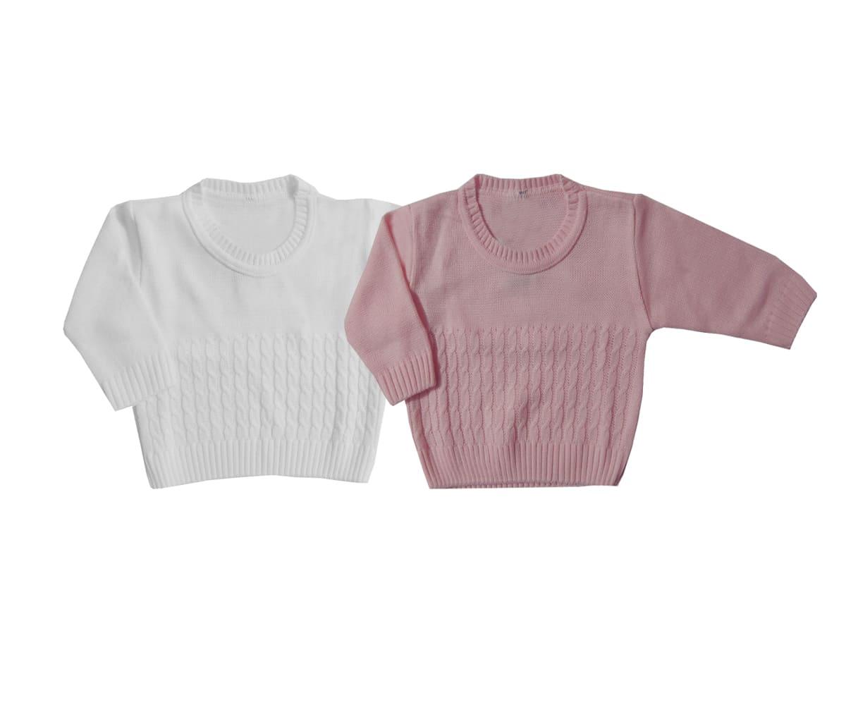 Kit 02 Blusas de lã Bebê Menina-0 a 12 meses - Cores Sortidas