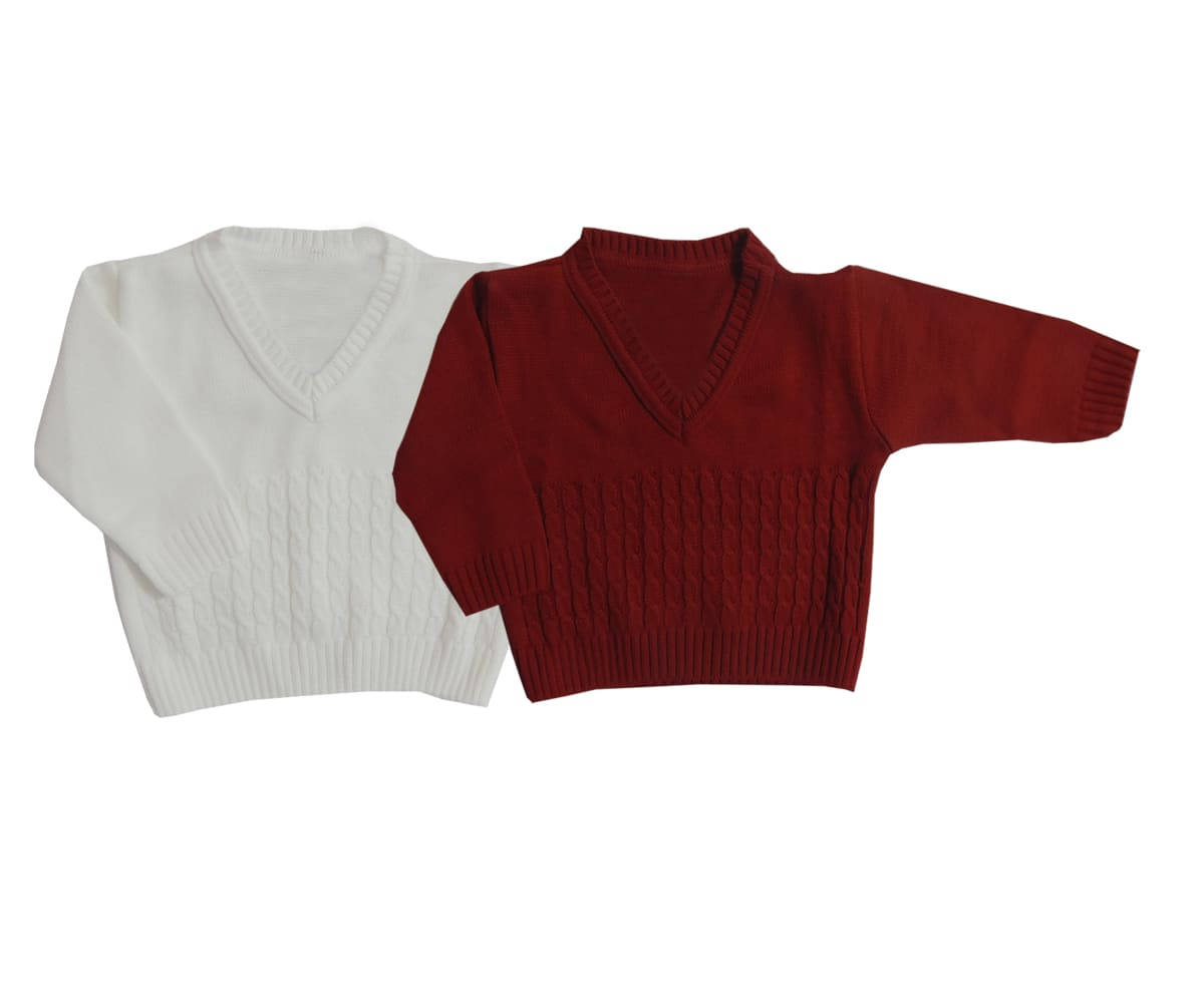 Kit 02 Blusas de lã Bebê Menino - 0 a 12 meses - Cores Sortidas