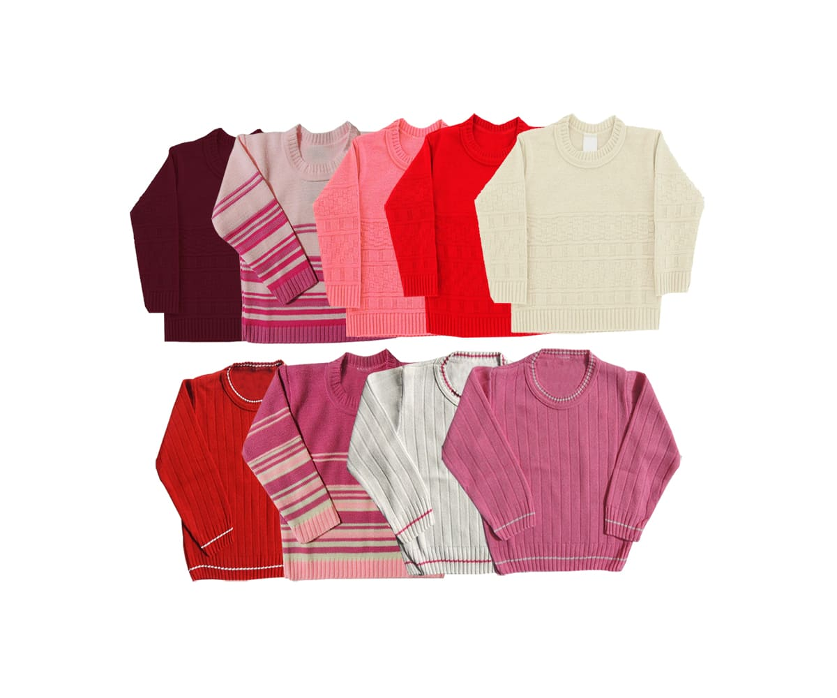 Kit 02 Blusas de lã Infantil Menina - 1 a 3 anos- Cores Sortidas