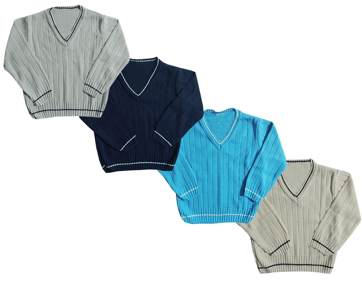 Kit 02 Blusas de lã Infantil Menino - 1 a 3 anos - Sortidas