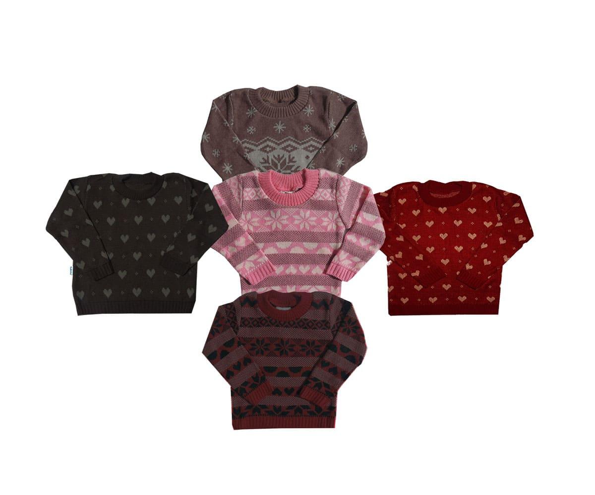 Kit 02 Blusas Infantil em Trico Feminino -Tam 1 ao 3
