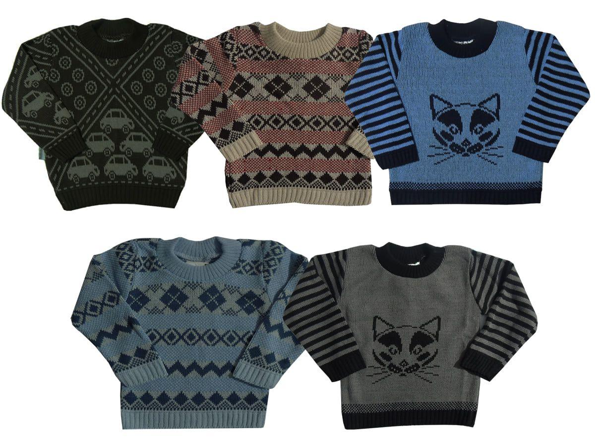 Kit 02 Blusas Infantil em Trico Masculino 1 aos 3 anos