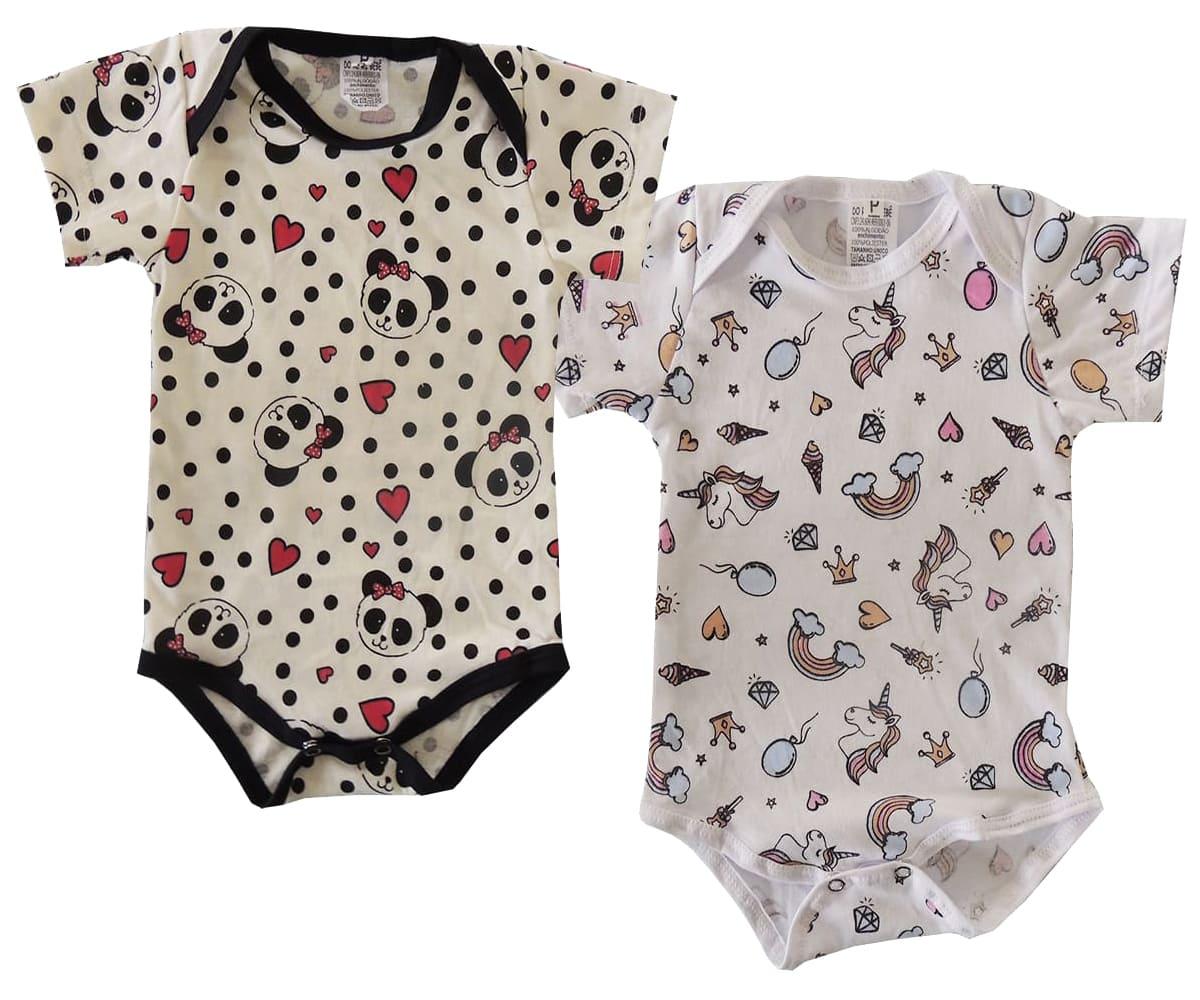 Kit 02 Bodies Bebê M/C Malha Estampado Menina