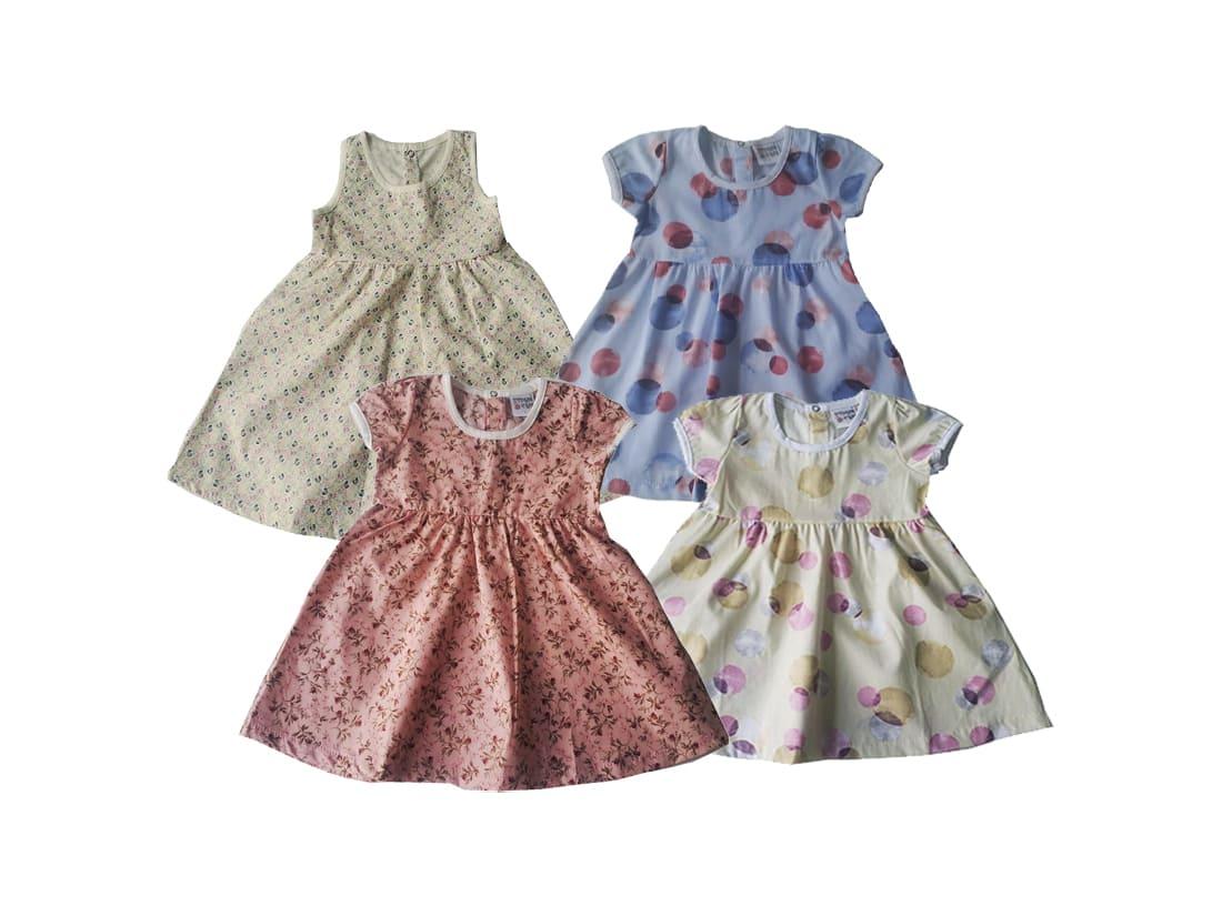 Kit 02 Vestido Infantil Estampado Verão