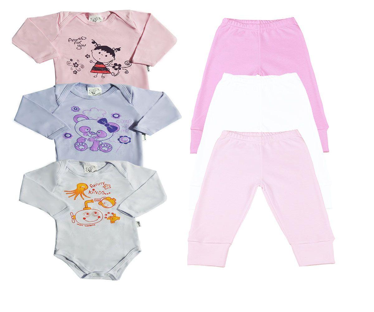 Kit 06 Peças Body e Calça Bebê Sortidos- Feminino