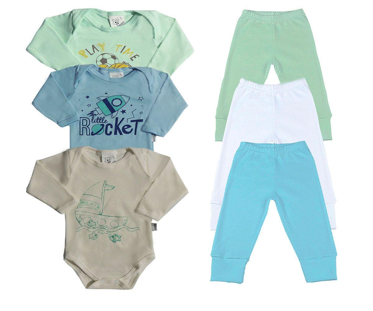 Kit 06 Peças Body e Calça Bebê Sortidos  Masculino