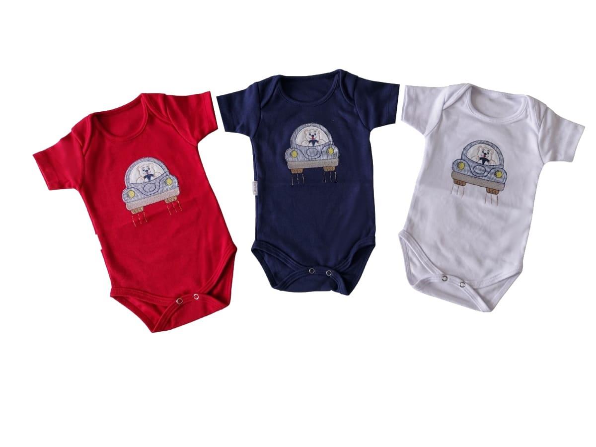 kit 3 Body para bebê Menino Bordado de Carro