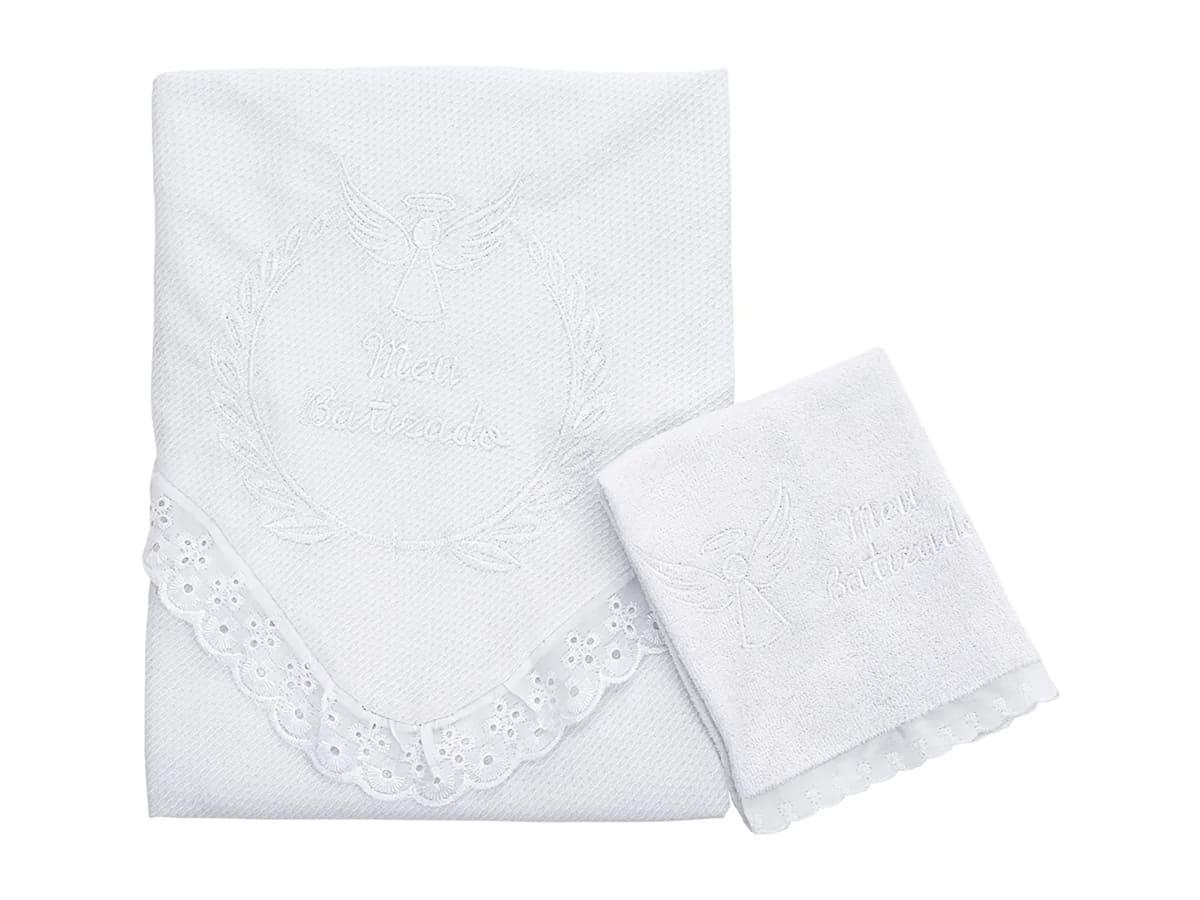 Kit Batizado 2 Peças Bordado Branco