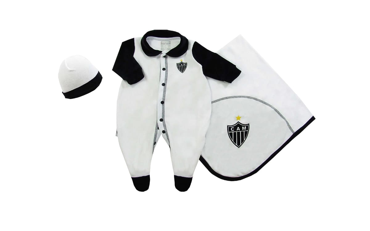Kit Bebê Atlético MG Macacão Manta e Gorro - Unissex