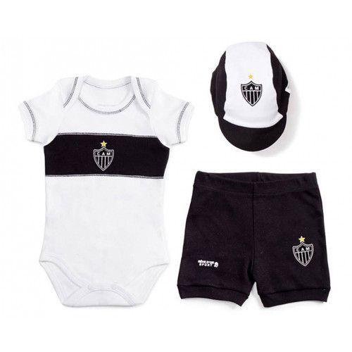 Kit Bebê Body com Shorts e Boné Suedine - Atlético MG Unissex