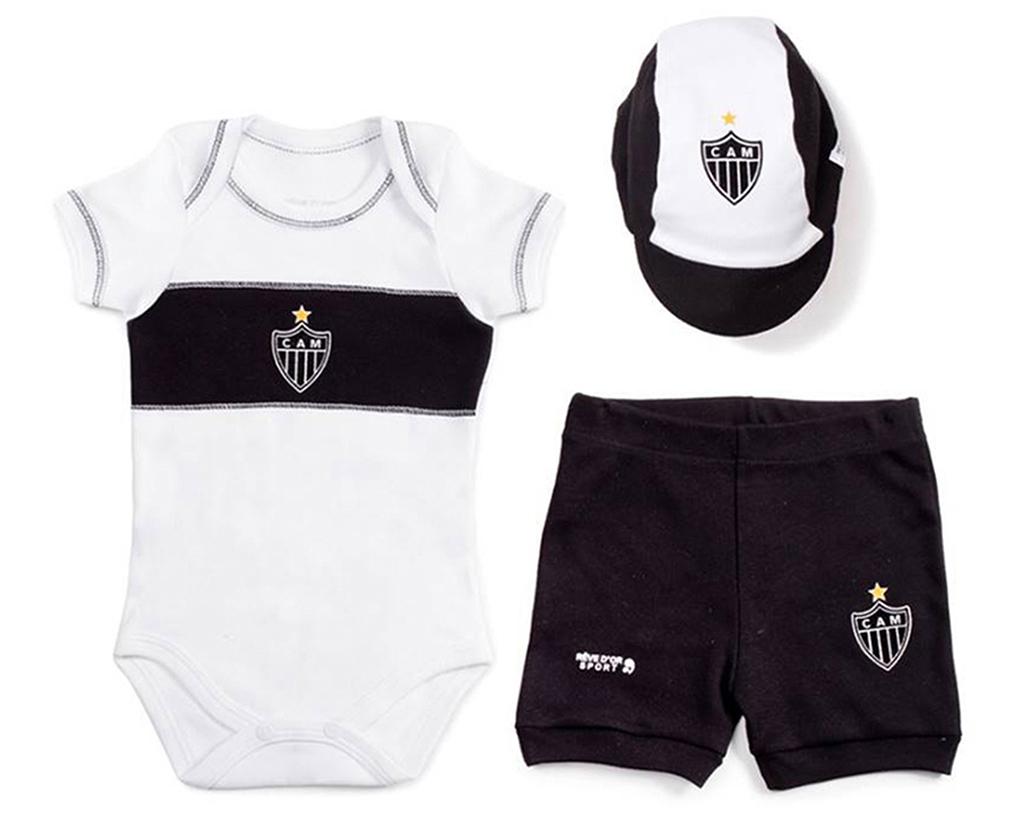 Conjunto Bebê Body com Shorts e Boné Atlético MG