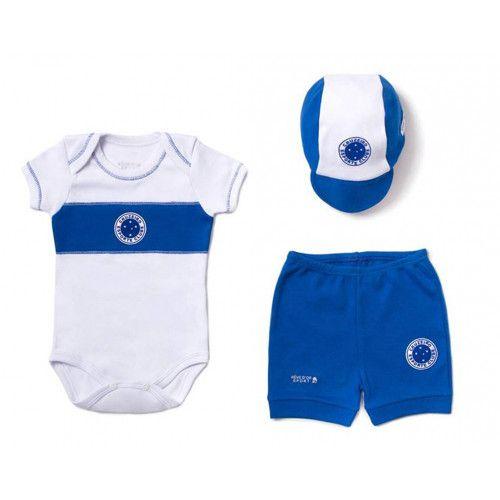 Kit Bebê Body com Shorts e Boné Suedine - Cruzeiro Unissex