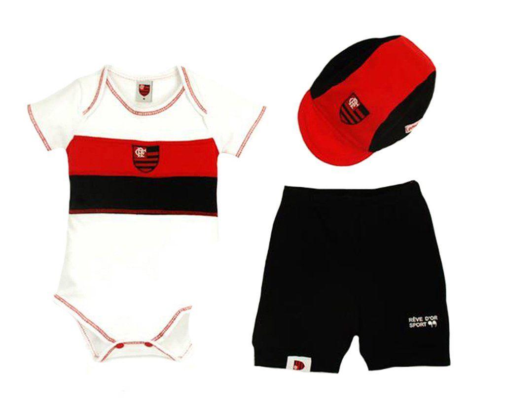Kit Bebê Body com Shorts e Boné Suedine - Flamengo Unissex