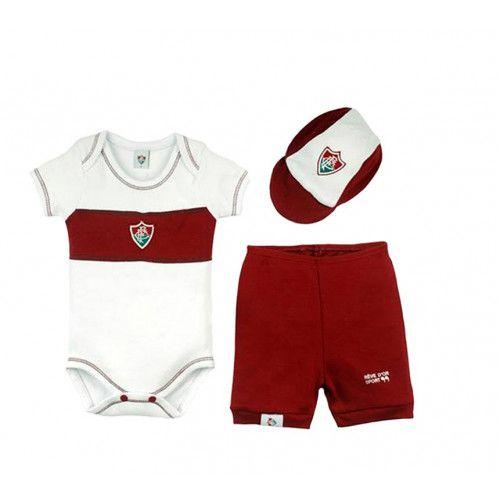 Kit Bebê Body com Shorts e Boné Suedine - Fluminense Unissex