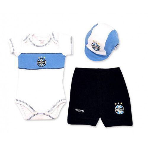 Kit Bebê Body com Shorts e Boné Suedine - Grêmio Unissex