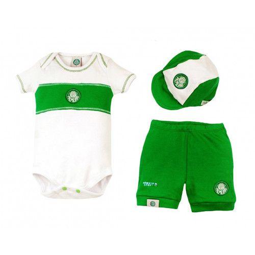 Kit Bebê Body com Shorts e Boné Suedine - Palmeiras Unissex