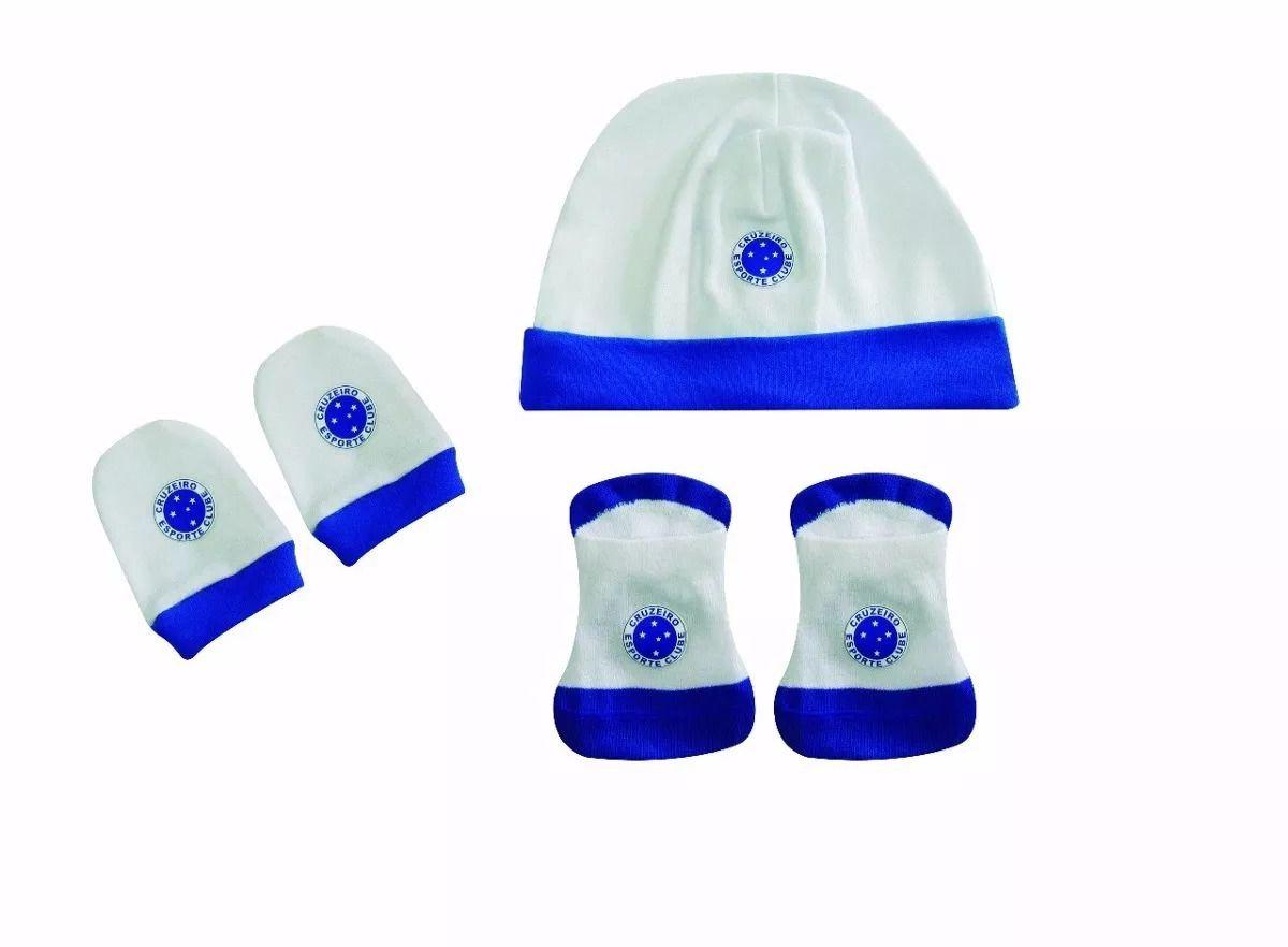 Kit Bebê Luvas Meias e Touca Cruzeiro Oficial