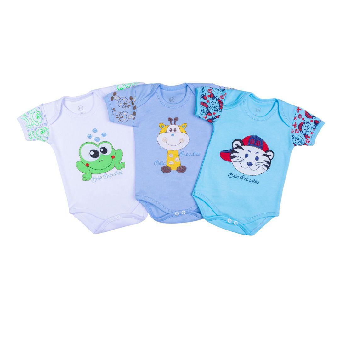 Kit Body Bebê com 3 Peças Bordado Bichos
