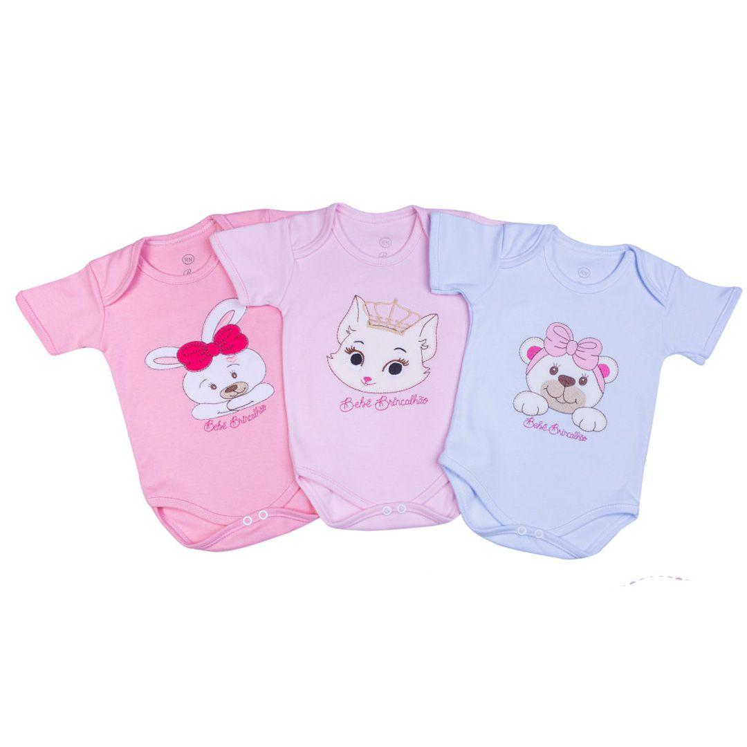 Kit Body Bebê Menina com 3 Peças Bordado