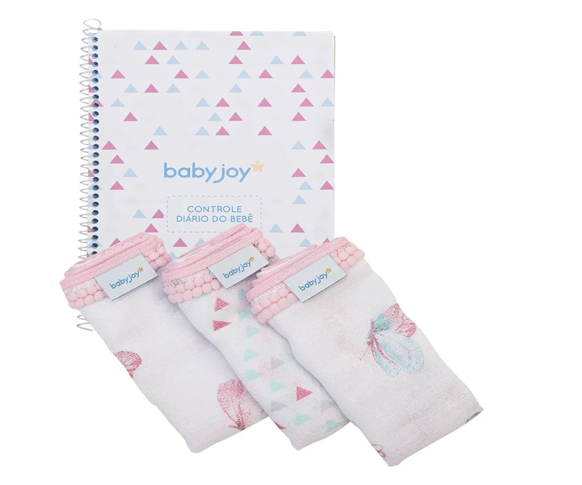 Kit Caderno Diário do Bebê Menina com 3 Pano de Boca