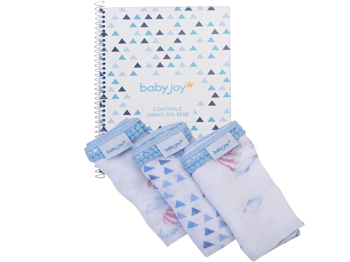 Kit Caderno Diário do Bebê Menino com 3 Pano de Boca