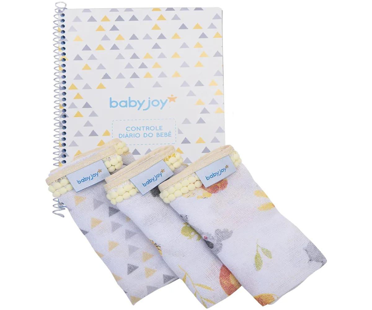 Kit Caderno Diário do Bebê Unissex com 3 Pano de Boca