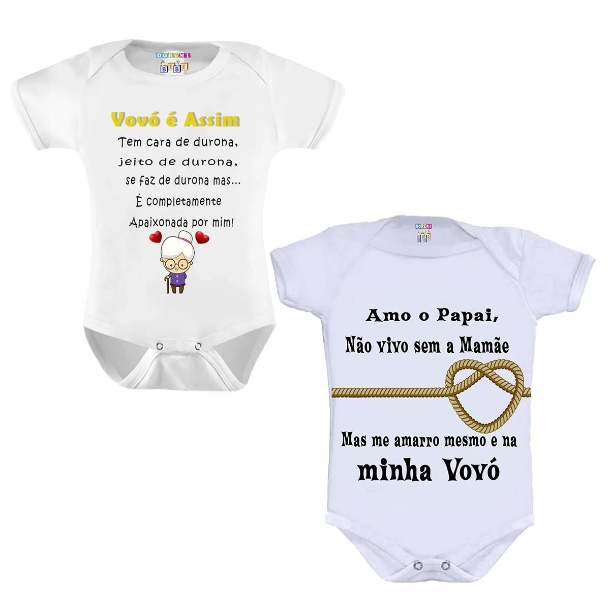 Kit Com 2 Bodys de Bebê Personalizado Tema Vovó