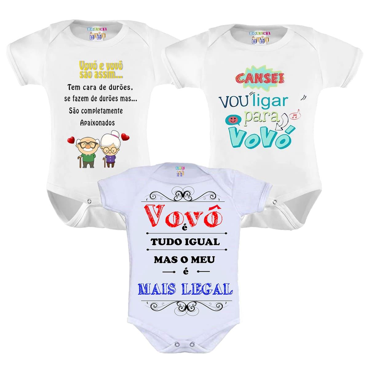Kit Com 3 Bodys de Bebê Vovó e Vovô Personalizado