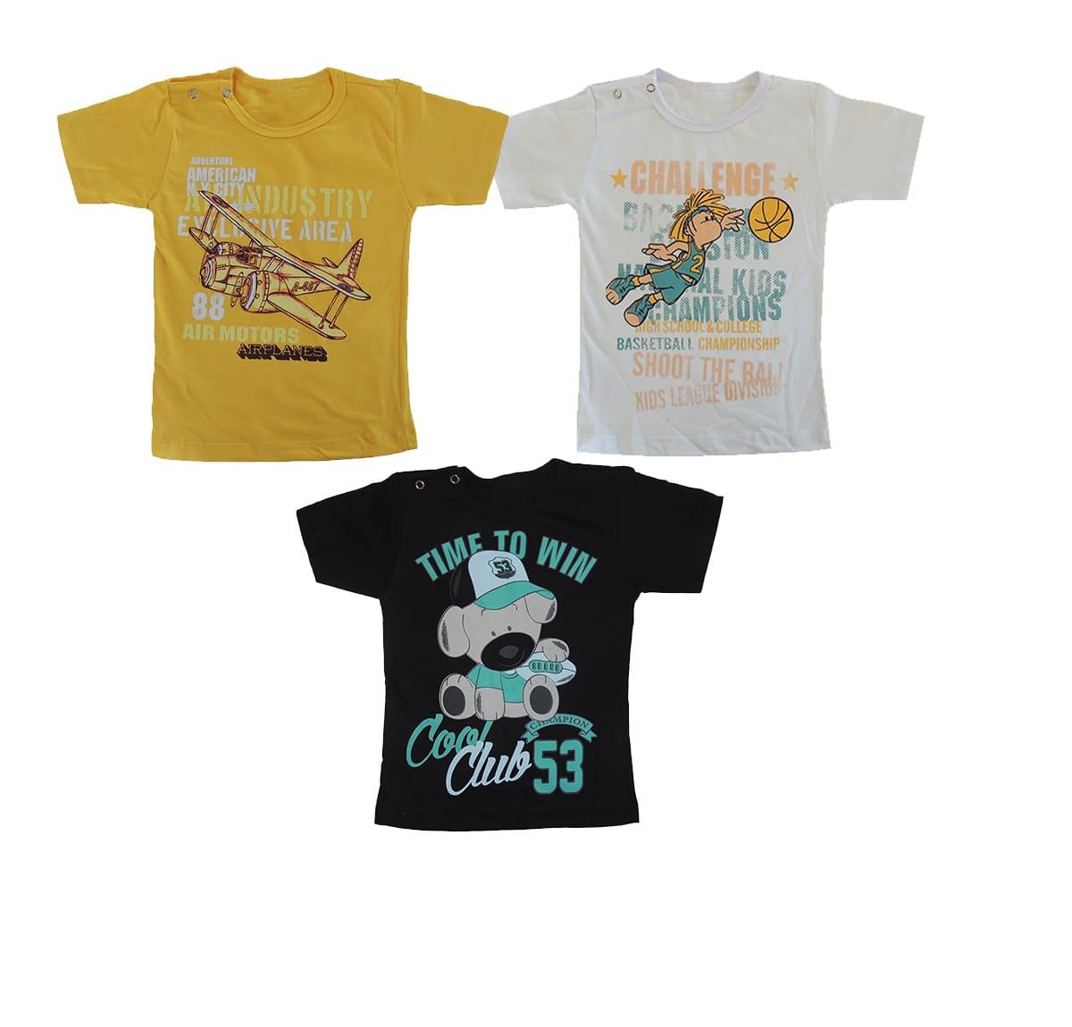 Kit com 3 Camiseta de Bebê Estampada Sortidas