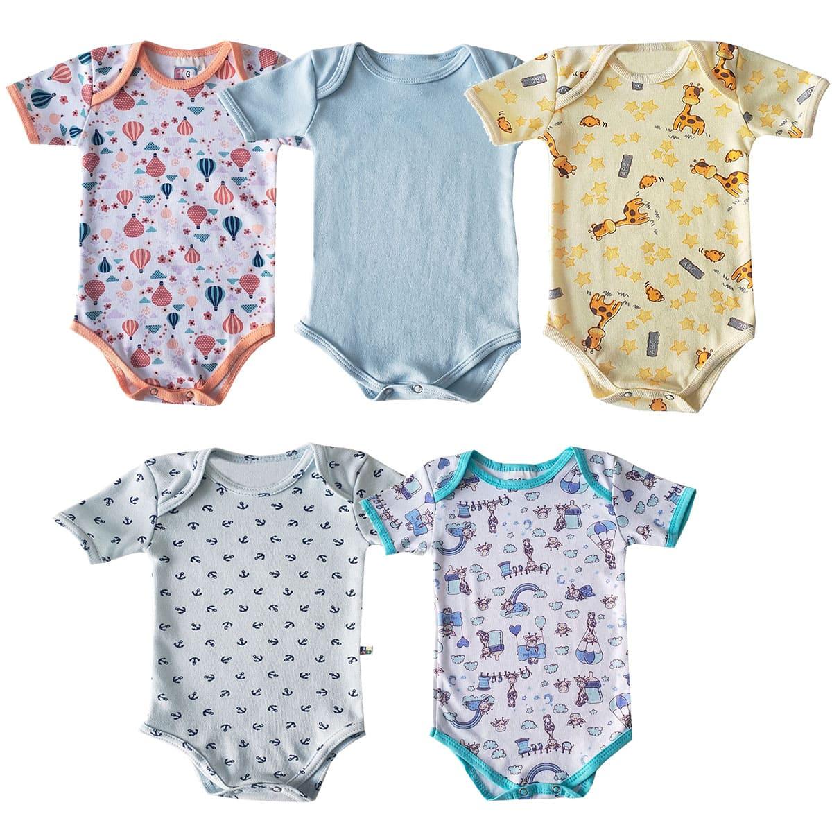 Kit de Body Bebê Estampas Sortidas com 3 Peças Menino