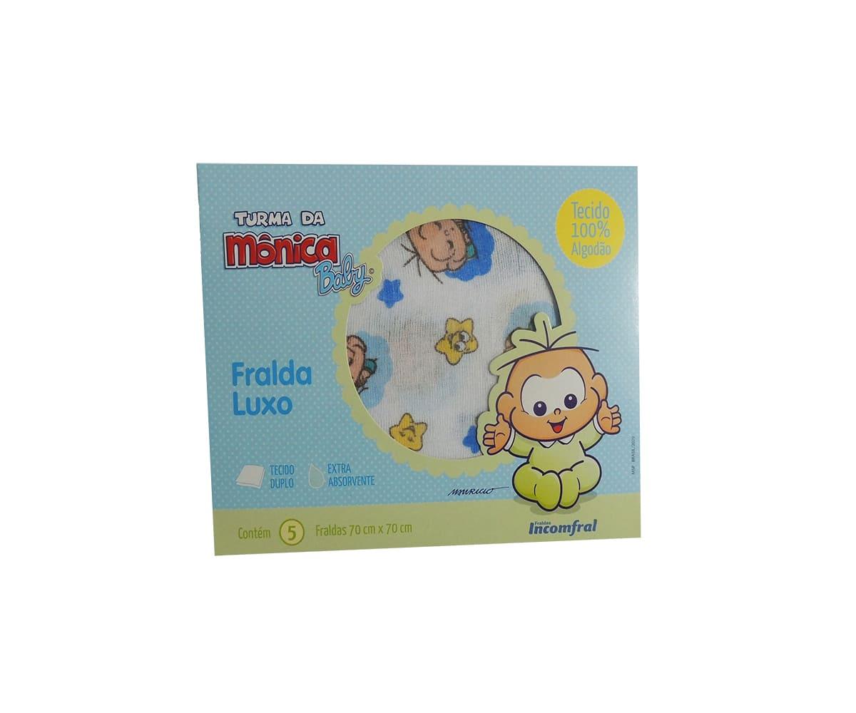 Kit de Fralda Com 5 Unidades Turma da Mônica Cebolinha