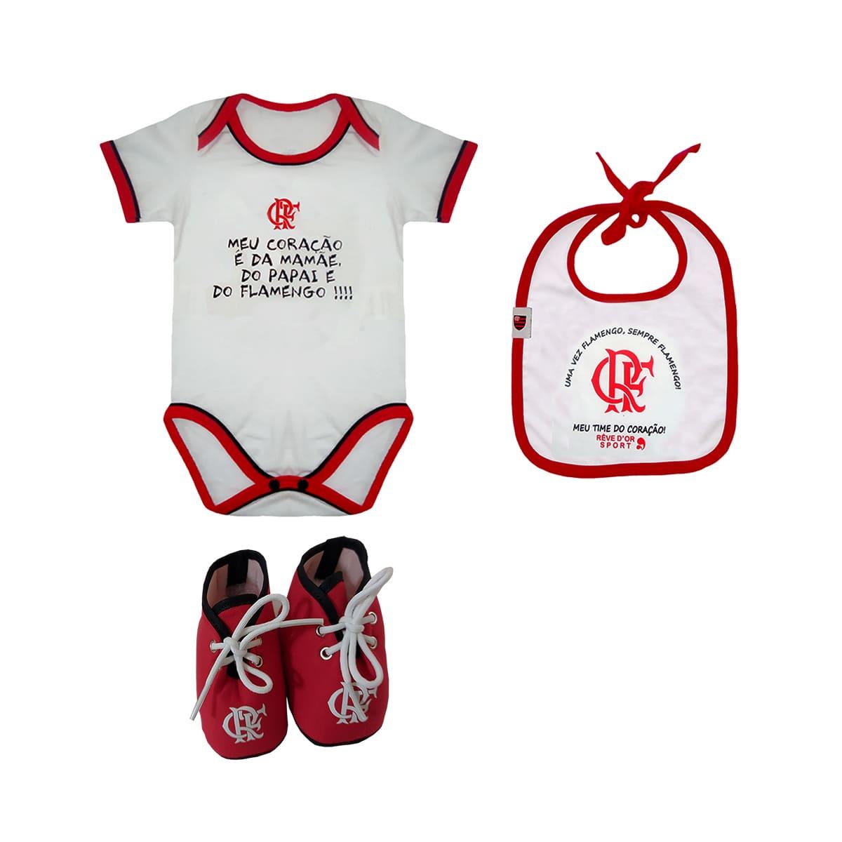 Kit Flamengo Bebê Body Babador Chuteira