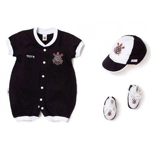 Kit Macacão Bebê Corinthians 3 Peças Unissex