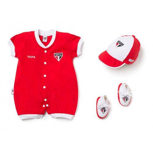 Kit Macacão Bebê São Paulo 3 Peças Unissex