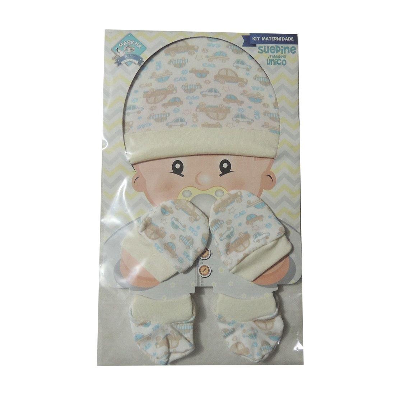 Kit Maternidade Touca, Luvas e Meias Carrinhos