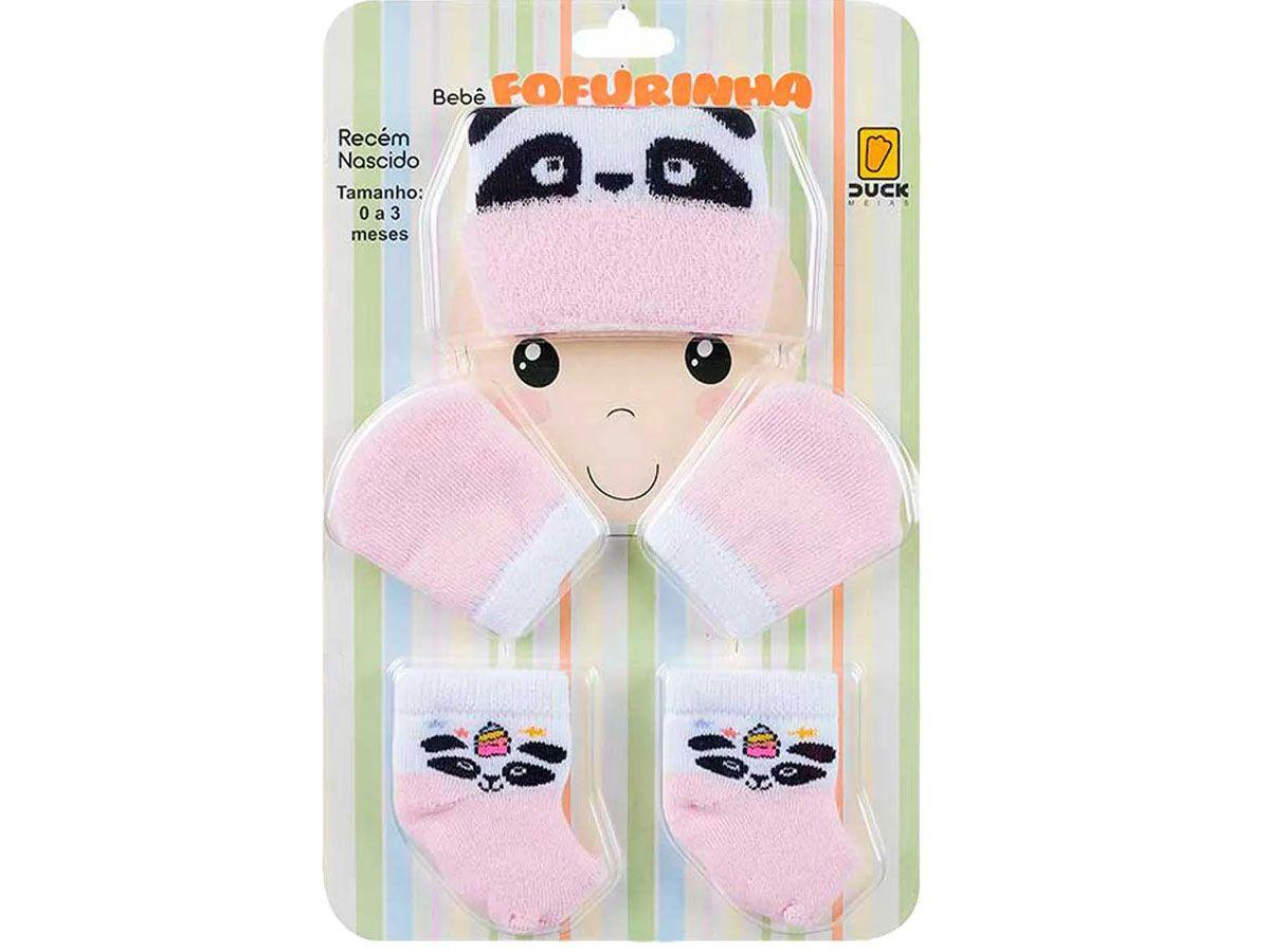Kit Meias , Touca e Luva Panda- Menina