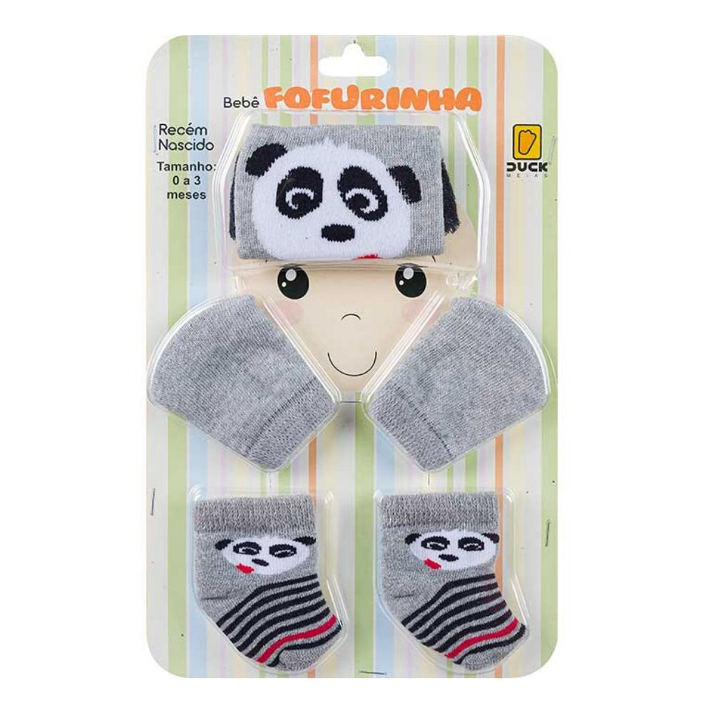 Kit Meias , Touca e Luva Panda- Menino