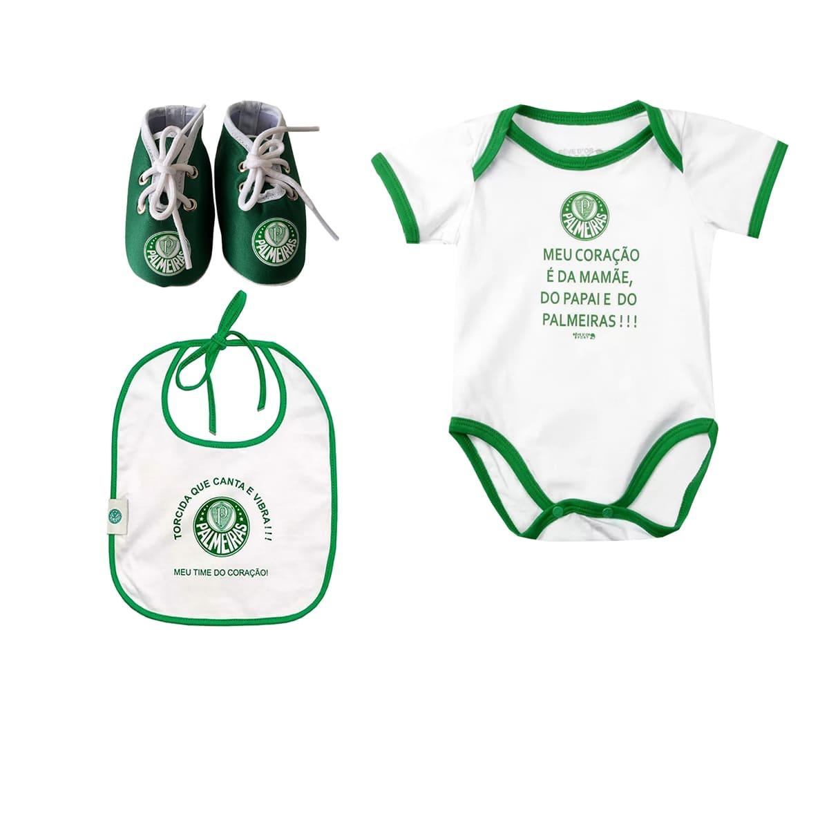 Kit Palmeiras Bebê Body Babador Chuteira