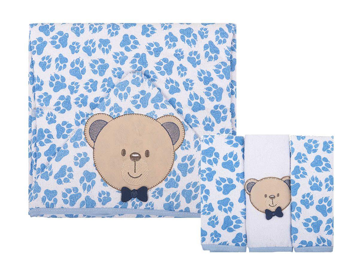 Kit Presente  04 Peças - Toalha de Banho e Panos de Boca - ursinho Azul